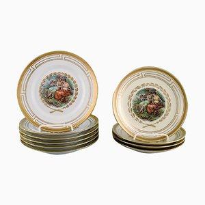 Florale Teller mit romantischen Motiven von Royal Copenhagen, 10er Set