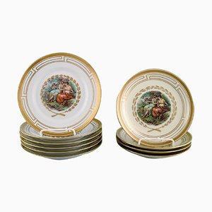 Plates Decorated with Flowers and Romantic Scenery from Royal Copenhagen, Set of 10