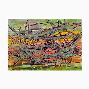 Edera Lysdal, guazzo e pastello ad olio su cartone, pittura modernista astratta