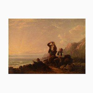 William I Shayer, Huile sur Toile, Rocky Coast avec Coheaters Rassembleur