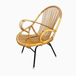 Vintage Rattan Reclining Chair from Rohé Noordwolde