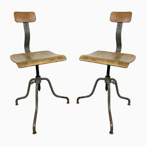 Vintage Industrial Tripod Factory Chairs, Set of 2