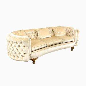 French Curved Velvet 3-Seater Sofa, 1950s