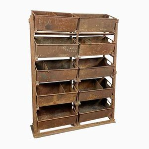 Antique Industrial Riveted Metal Storage Rack