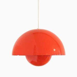 Rote Flowerpot Hängelampe von Verner Panton