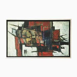 Henk Munnik, Dutch Modernist Painting, 1960s, Oil on Canvas
