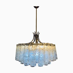 German Brass and Glass Chandelier from Doria, 1970s