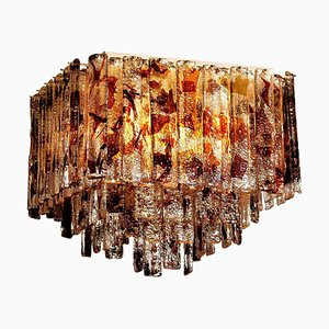 Multi-Colored Italian Square Murano Crystal Ceiling Lamp from Mazzega, 1960s