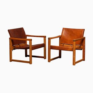 Model Diana Cognac Leather Safari Armchairs by Karin Mobring for Ikea, Set of 2