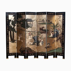 Polychrome Gold Leaf Chinoiserie Double Face Folding Room Divider, 1970s