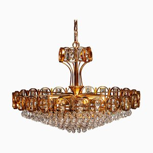 Gold-Plated Brass Chandelier with Faceted Crystals from Palwa, Germany