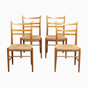 Slim Model Gracell Beech Seagrass Dining Chairs for Yngve Ekström by Gemla, 1960s