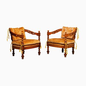 Italian Lounge Chairs by Giorgetti, Set of 2