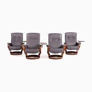 Grauer Leder Sessel Set von Himolla, 4er Set
