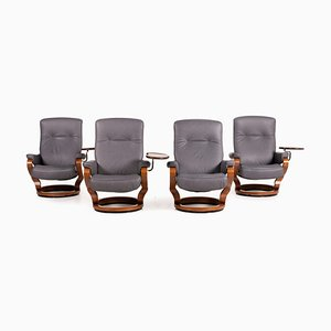 Gray Leather Armchair Set from Himolla, Set of 4