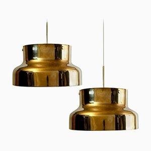 Goldfarbener Bumling aus Massivem Messing von Anders Pehrson für Atelje Laterne, 1960er, 2er Set
