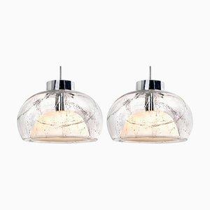 Mundgeblasene Glas Hängelampen von Doria, 1970er, 2er Set