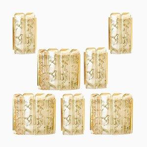Strukturierte Wandleuchte aus geblasenem Glas & Messing von Doria, 1960er