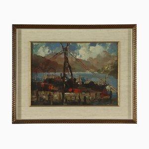 Luigi Curti Cannobbio, scorcio del Lago Maggiore, 1933, olio su compensato