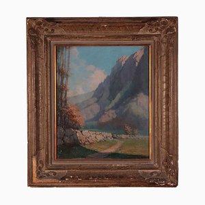 Carlo Pianca, Landscape, Oil on Plywood, 20th Century