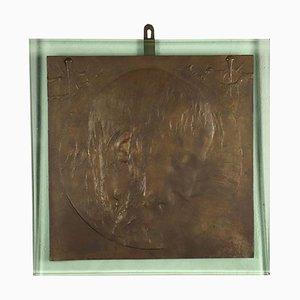 Scultura in bronzo dorato Ecce Saroldi A Franco