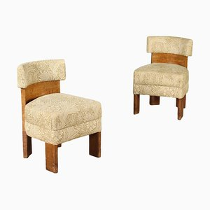 Tuia Burl Veneer Chairs, Italy 1920s, Set of 2