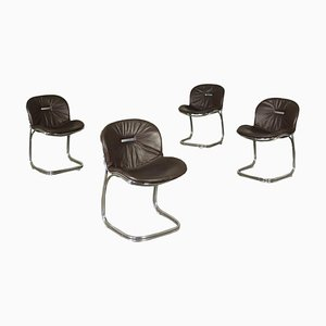Chairs with Chromed Metal and Padded Leather by Gastone Rinaldi, 1970s, Set of 4