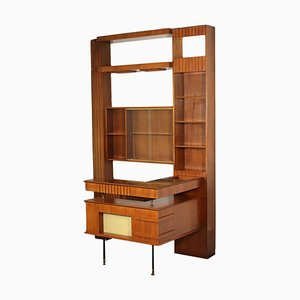 Wood Veneer and Glass Bar Cabinet, Italy, 1960s