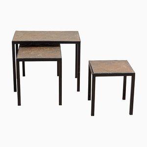 Tables Gigogne Minimalistes en Ardoise Pierre et Métal, Set de 3