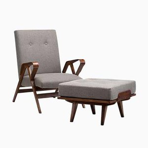 Armchair with Footstool by by Frantisek Jirak for Tatra, Set of 2
