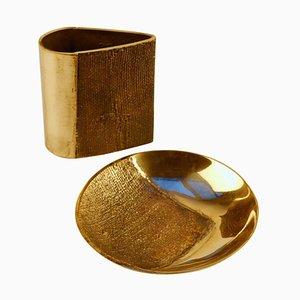 Bronze Cast Vase and Bowl by Antonella Caprio Saviato, Set of 2