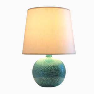 Green Glazed Ceramic Table Lamp from Primavera, 1930s