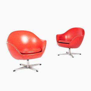 Swivel Lounge Chairs in Red Galon from S. M. Wincrantz, Set of 2