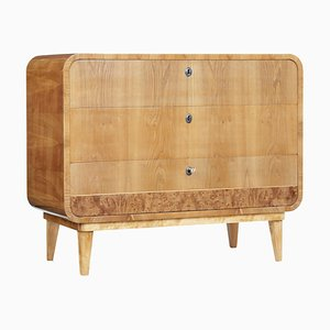 Mid-20th-Century Swedish Shaped Elm Chest of Drawers