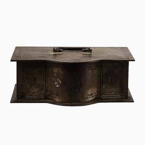 Safety Deposit Small Iron Chest with Vintage Emblem First Half of 900