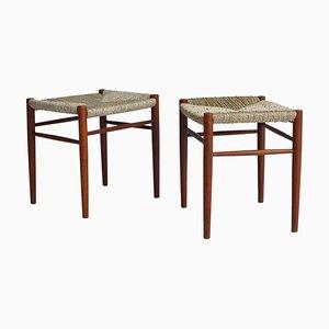 Danish Modern Teak Wood / Seegras Hocker von Peter Hvidt & Orla Molgaard, 1950er, 2er Set