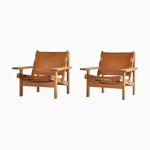 Scandinavian Model 168 Hunting Chairs in Oak and Leather by Kurt Østervig, Set of 2