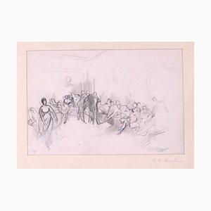 Tony Johannot - Menschen in einem Raum - Original Bleistift - 19. Jahrhundert
