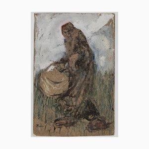 Gabriele Galantara - Frau mit Korb - Original Tinte, Tempera und Aquarell - 1905