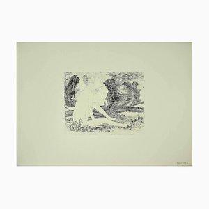 Leo Guida - Fille avec Chien - Gravure Originale - 1970