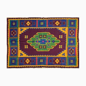 Vintage Romanian Hand Woven Accent Geometric Rug in Colorful Wool