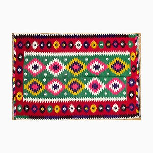 Rumänischer Vintage Kilim Teppich Geometric Design in Grün & Rot