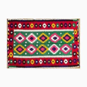 Vintage Romanian Red & Green Geometrical Design Kilim Rug