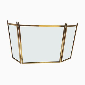 Antique Italian Gilt Brass and Glass Fireplace Screen or Fire Screen