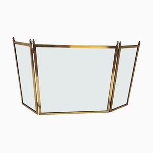 Pantalla o pantalla de chimenea italiana antigua de latón dorado y vidrio
