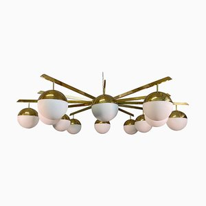 Large 12-Arm Brass Chandelier in White Opaline Glass in the Style of Stilnovo