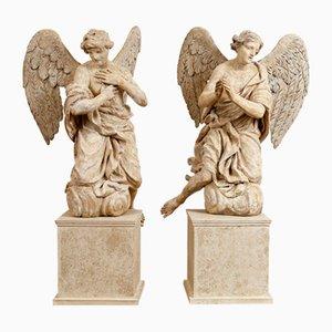 Italienische Engel aus Holz, 18. Jh., 2er Set