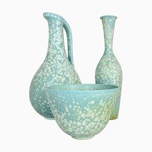 Piezas de cerámica Mid-Century de Gunnar Nylund para Rörstrand, Sweden, años 50. Juego de 3