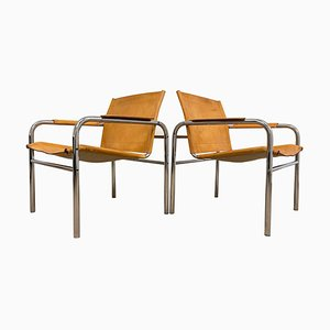 Leather and Tubular Steel Armchairs by Tord Bjorklund, Sweden, 1980s, Set of 2