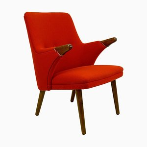 Scandinavian Mini Bear Teak Lounge Chair with New Red Fabric by Svend Skipper